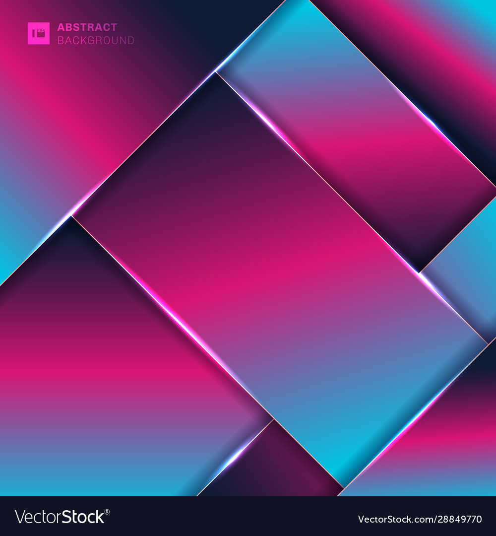 Abstract pink and blue neon color geometric