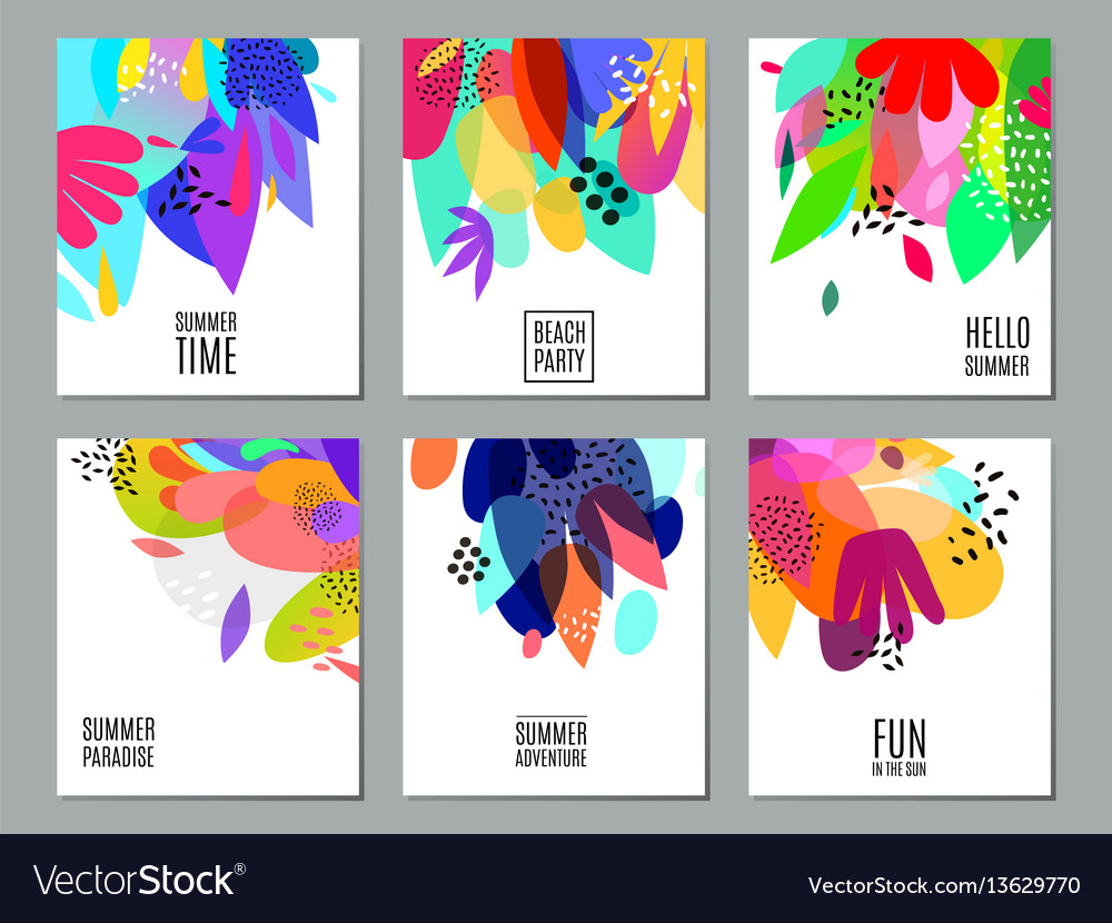 Abstract summer advertisement banners collection vector image