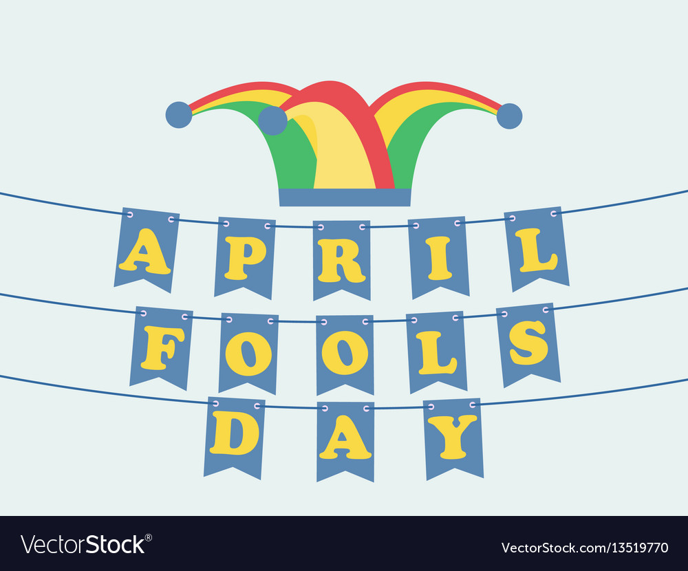 April fools day festive background with hat with