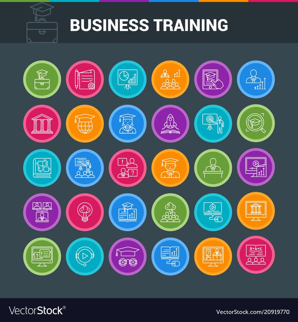 Business circle icon set