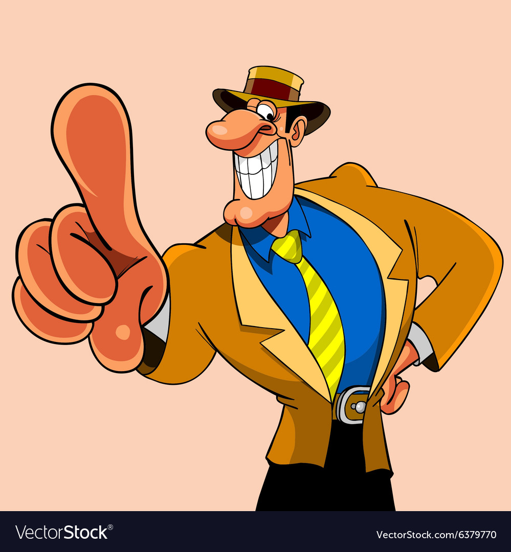 Cartoon smiling elegant man shows his index finger