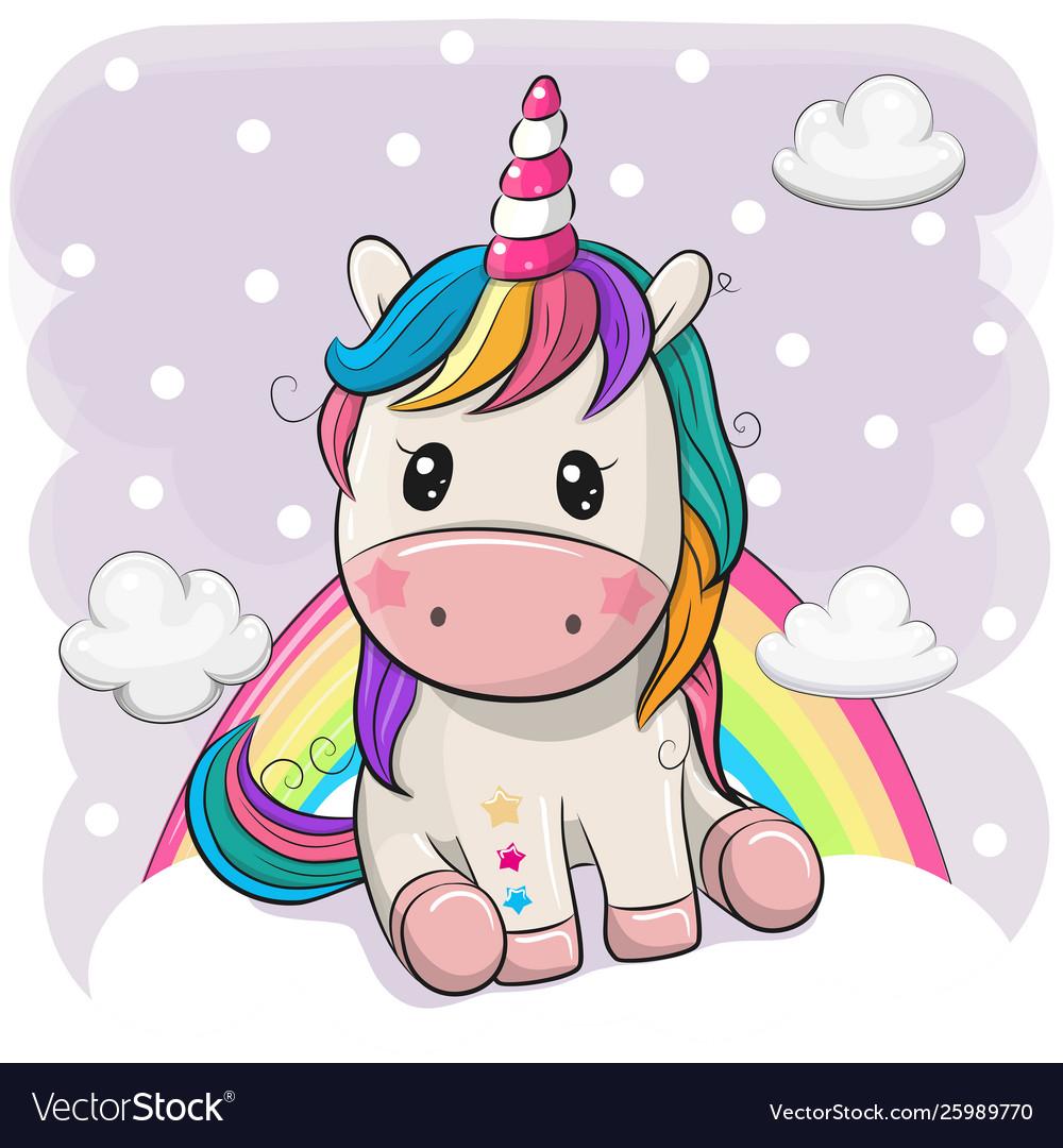 Cartoon unicorn is sitting on clouds
