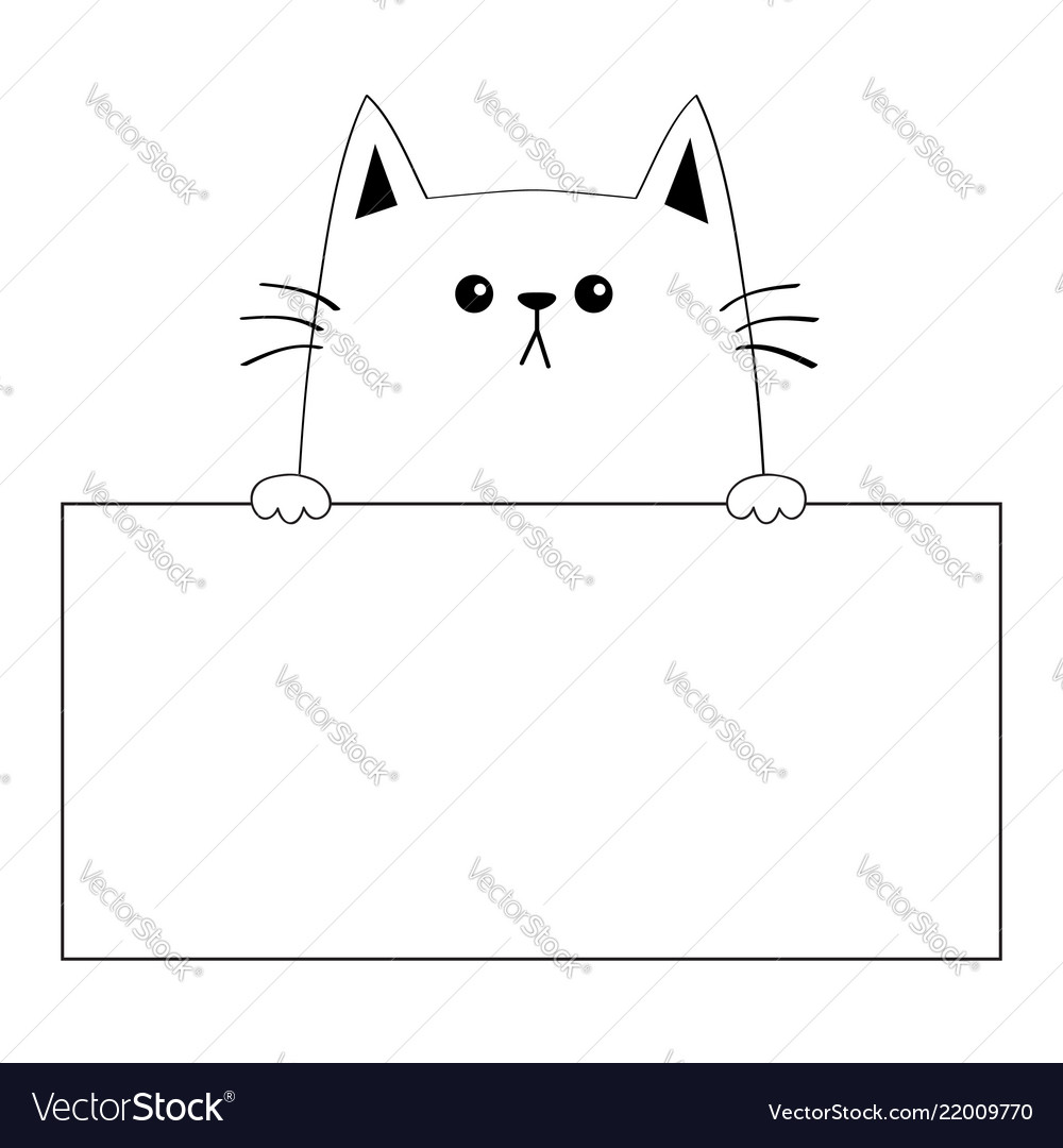 Cat head face silhouette hanging on paper board