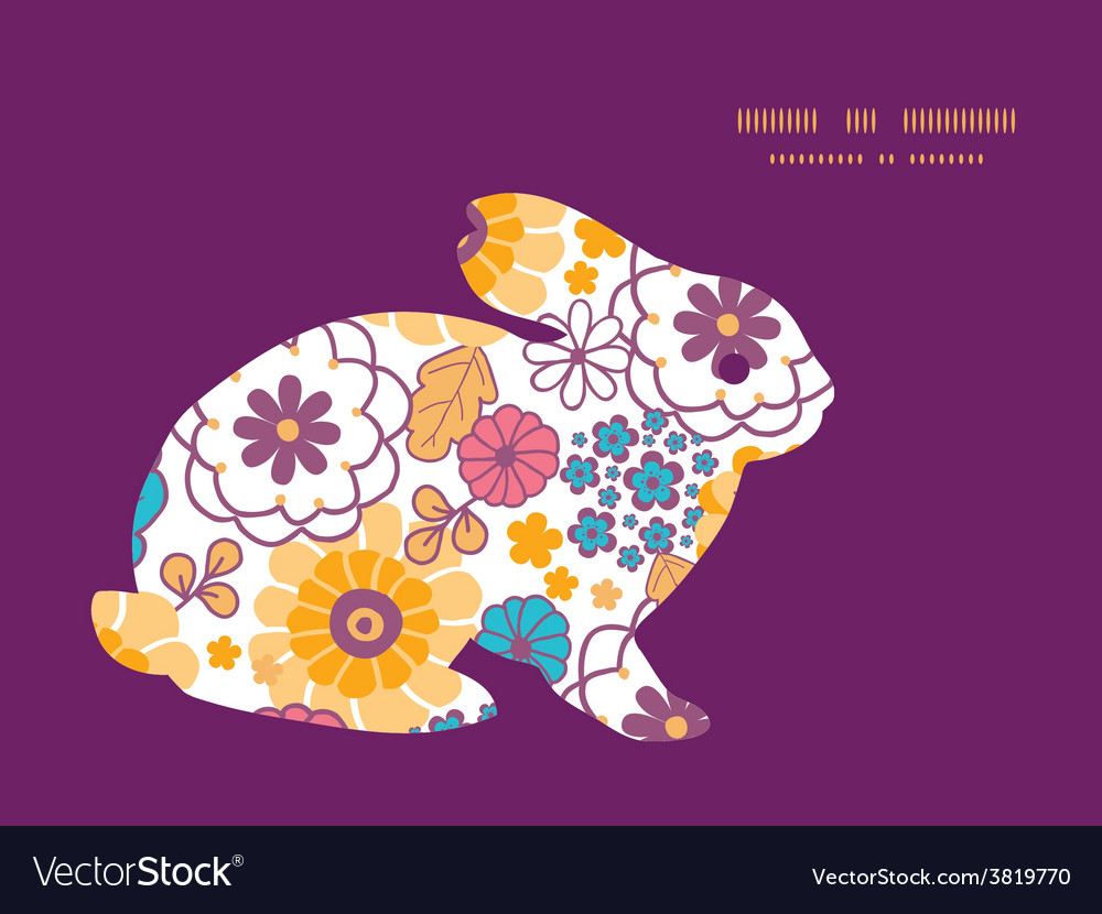 Colorful Oriental Flowers Bunny Rabbit Royalty Free Vector