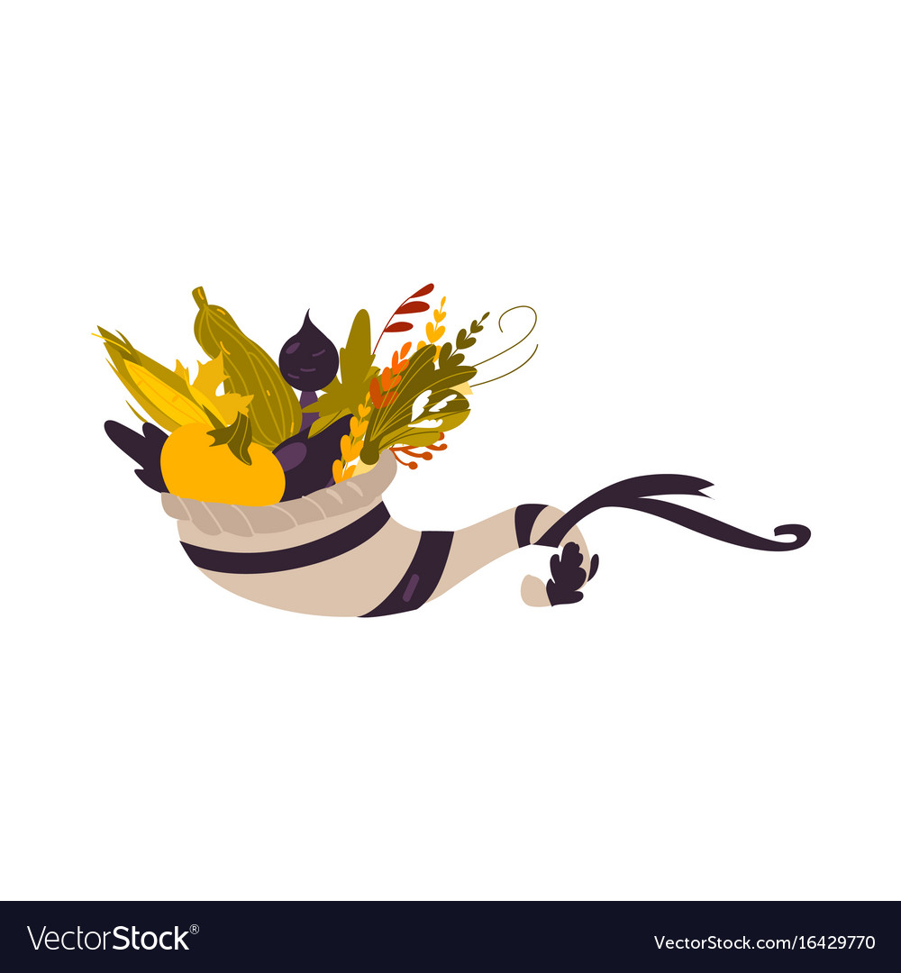 Cornucopia horn of abundance herbs vegetables vector image