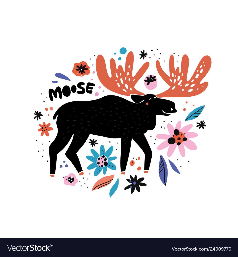 Cute moose flat hand drawn