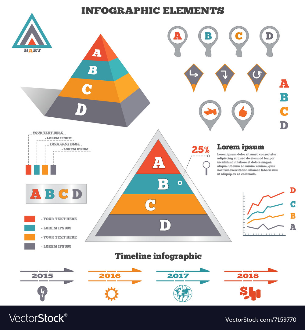 Infographics elements set Pyramid chart graphics