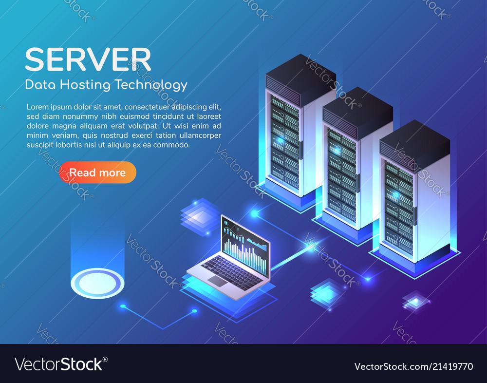 Isometric web banner server room and hosting