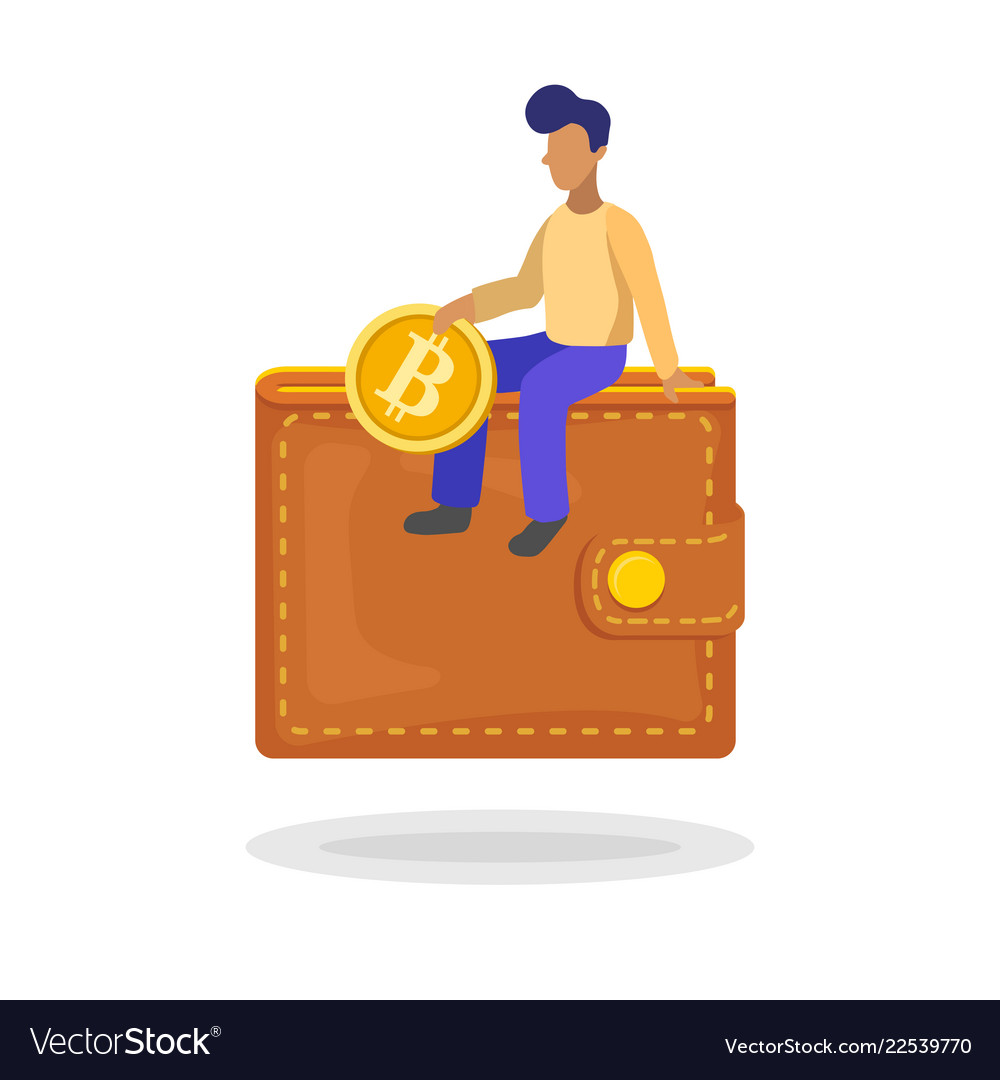 Man putting a bitcoin in her wallet flat minimal