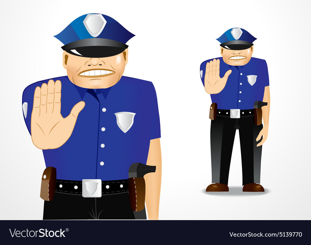Policeman showing stop gesture