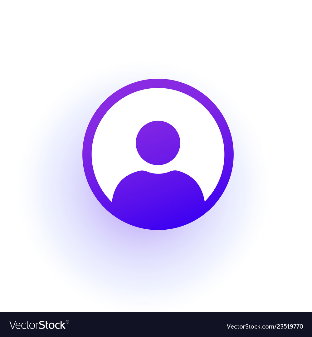 Purple user icon in the circle a solid gradient
