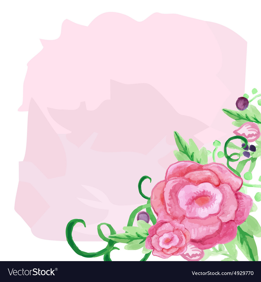Rose watercolor flower and leaves bouquet in a