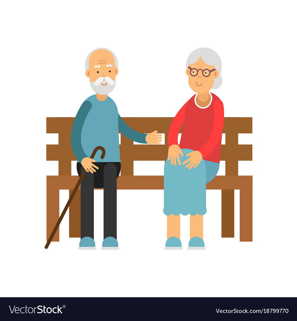 Senior couple sitting on the wooden bench