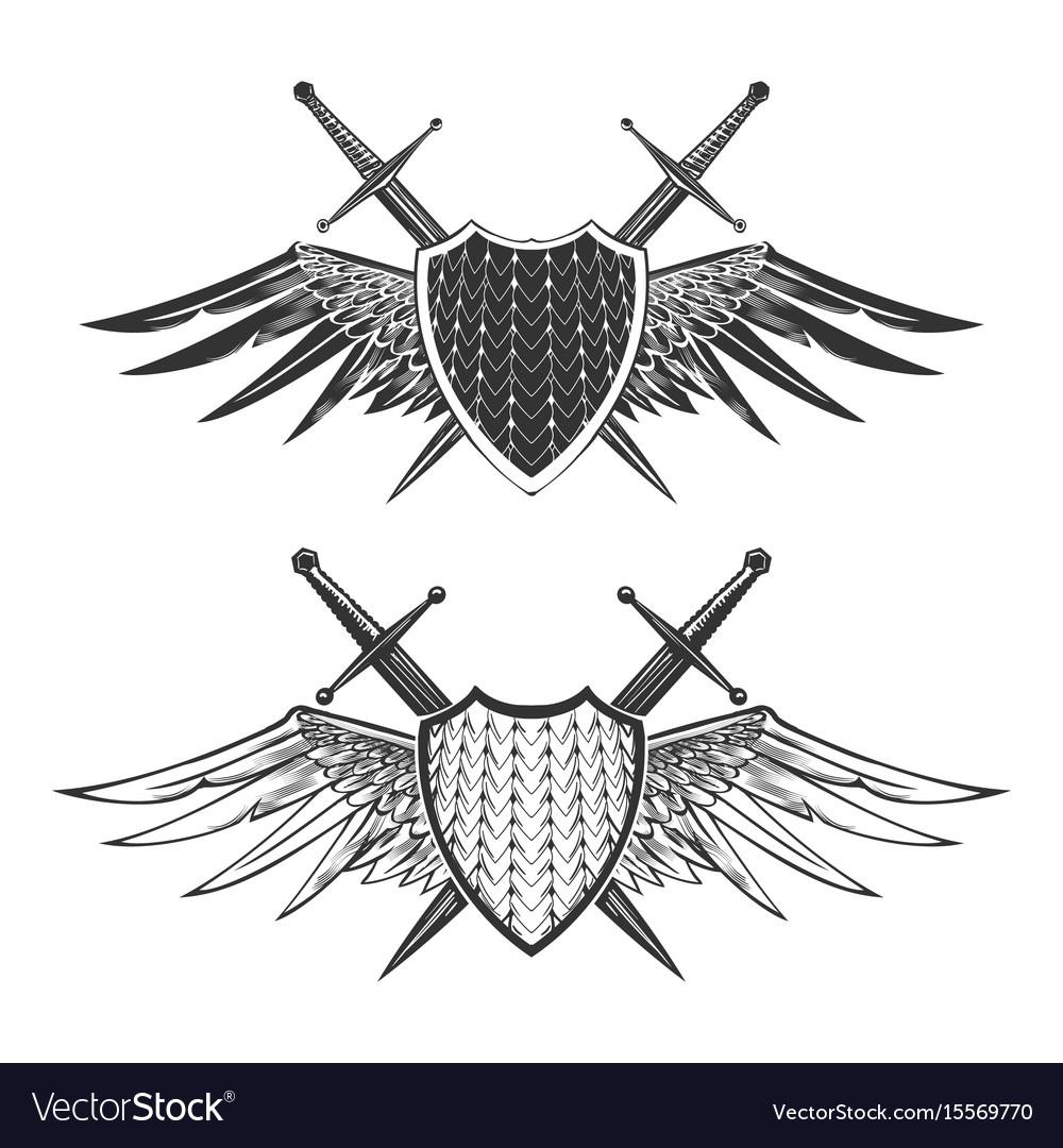 Shield with swords emblem set