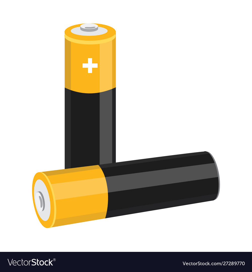 Two aa size batteries isolated on white
