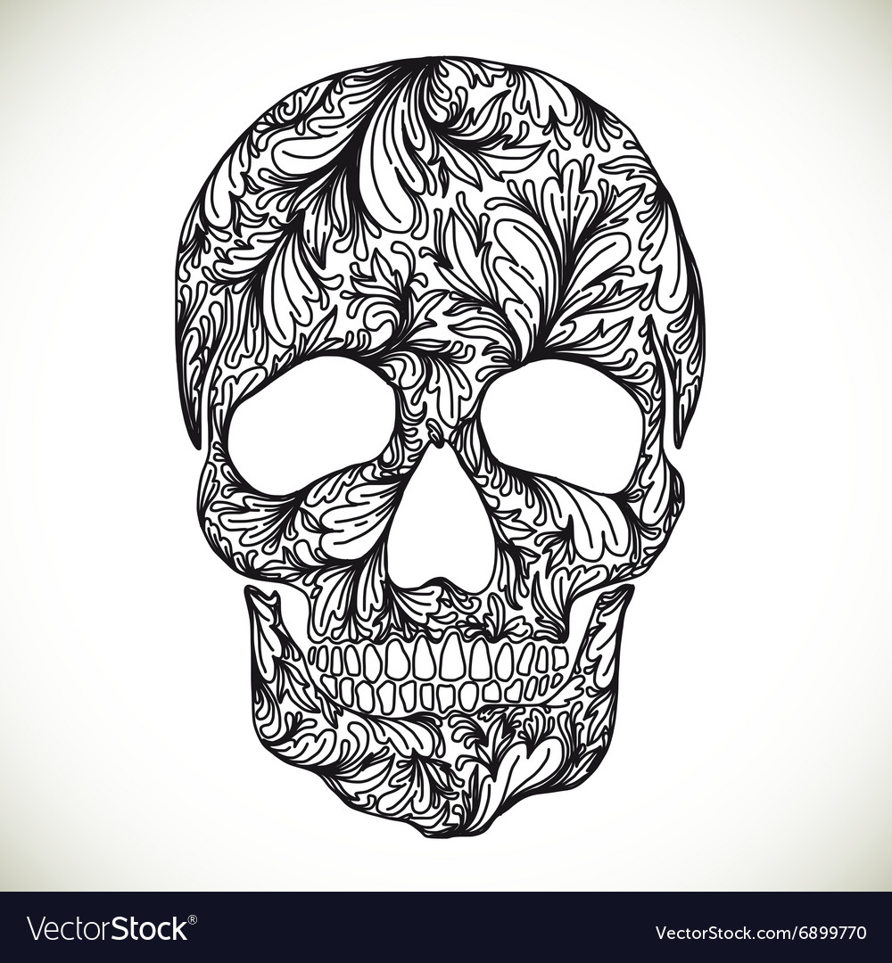 With Hand Drawn Skull