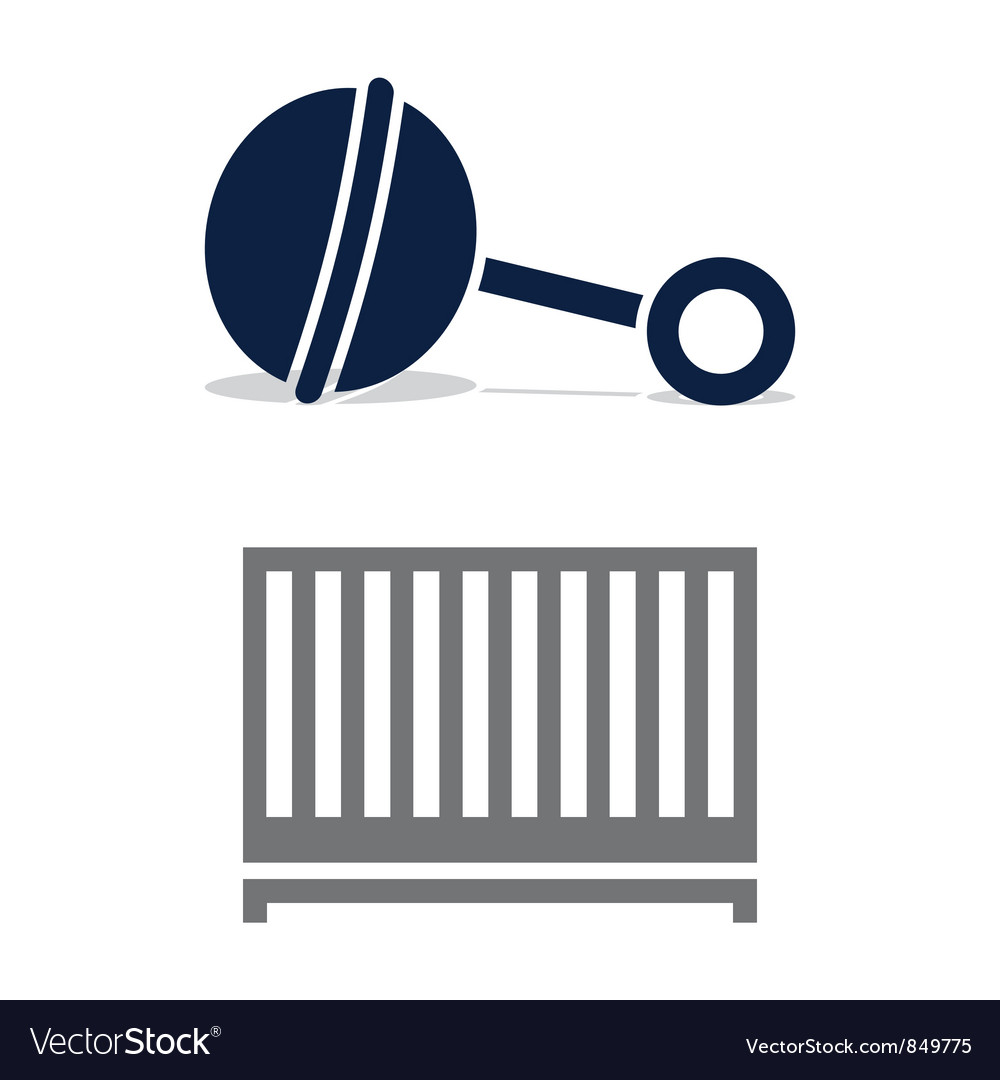 Baby Crib and Rattle vector image