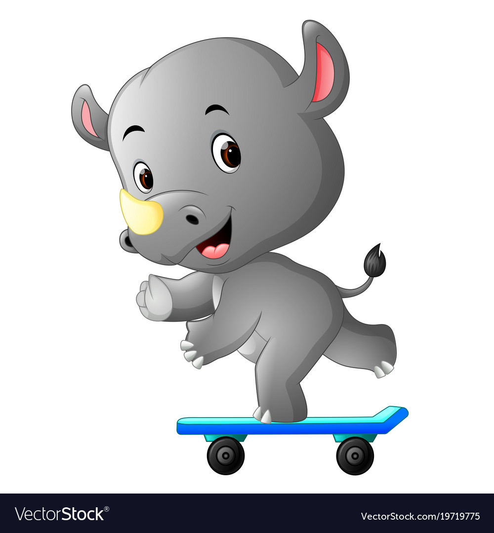 Cute rhino playing skateboard vector image