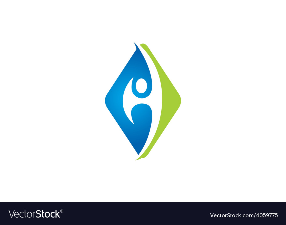 Eco square people abstract logo