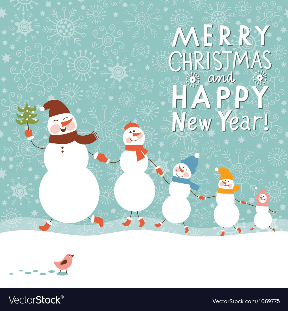 Family of cute snowmen vector image