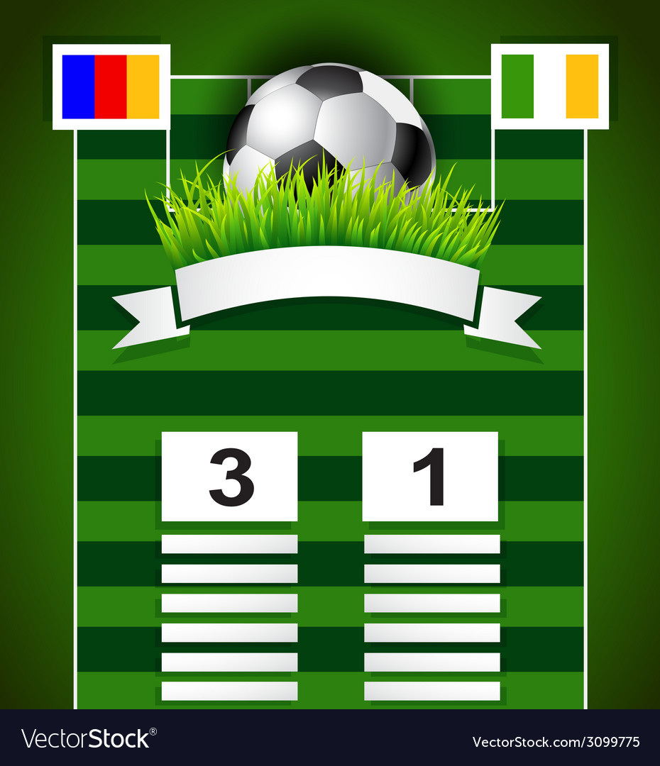 Football scoreboard design on field vector image