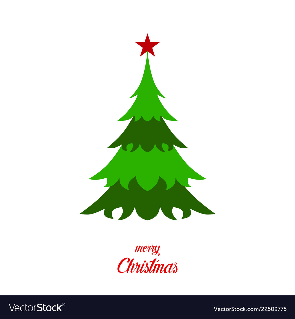 Green christmas tree with star and text merry