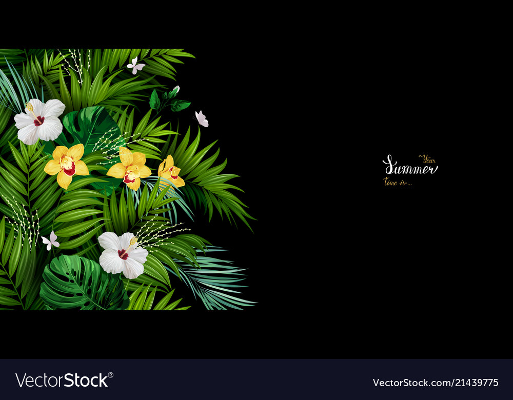 Holiday banner with tropical palm monstera leaves