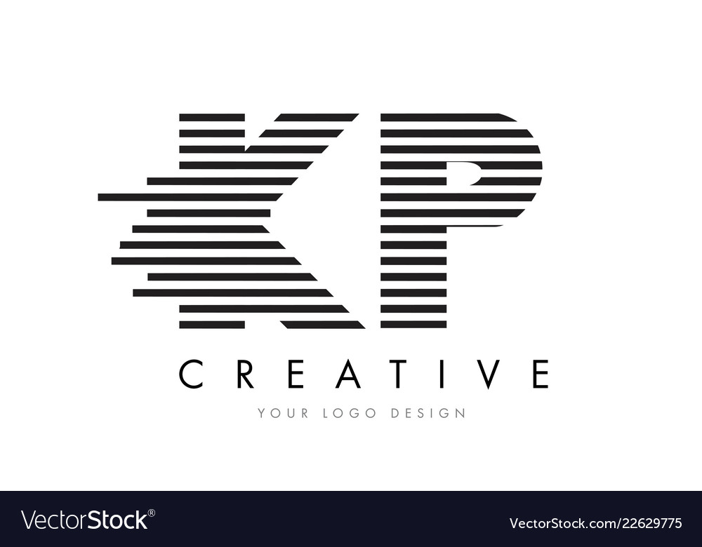 Kp K P Zebra Letter Logo Design With Black And Vector Image