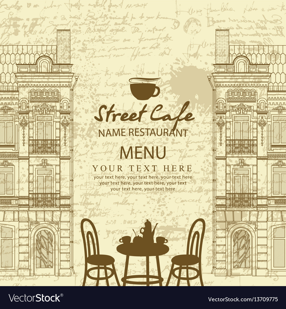 Menu for sidewalk cafe with table and architecture vector image