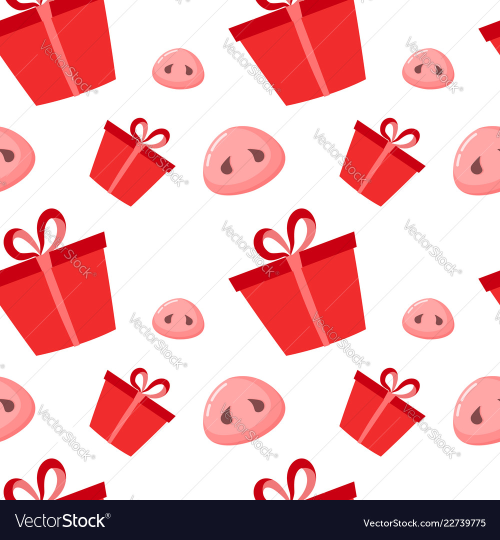 Pig is a symbol of 2019 new year seamless pattern vector image