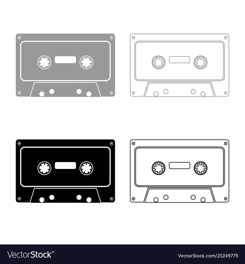 Retro audio cassette icon outline set grey black