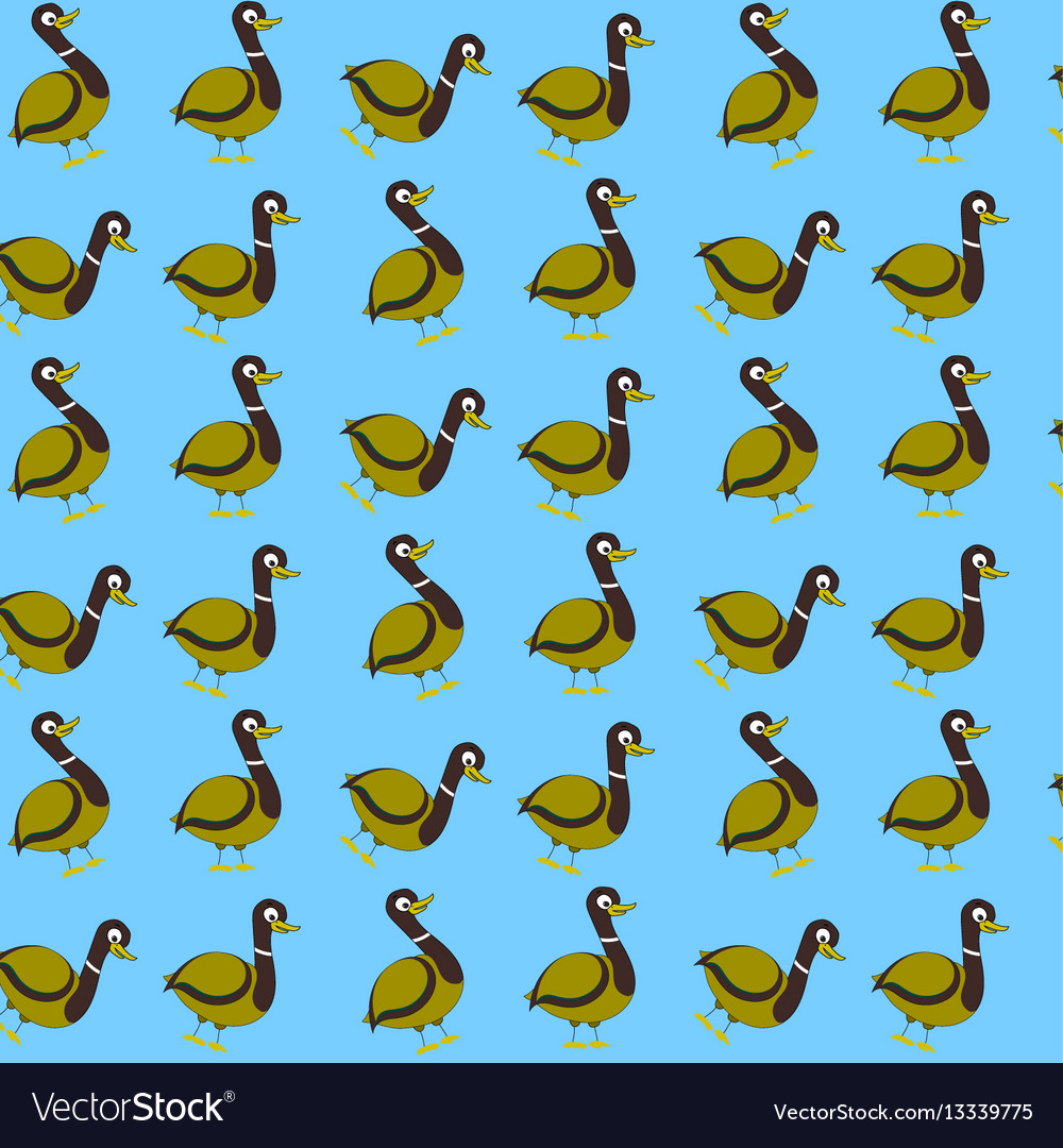 Seamless pattern with wild duck