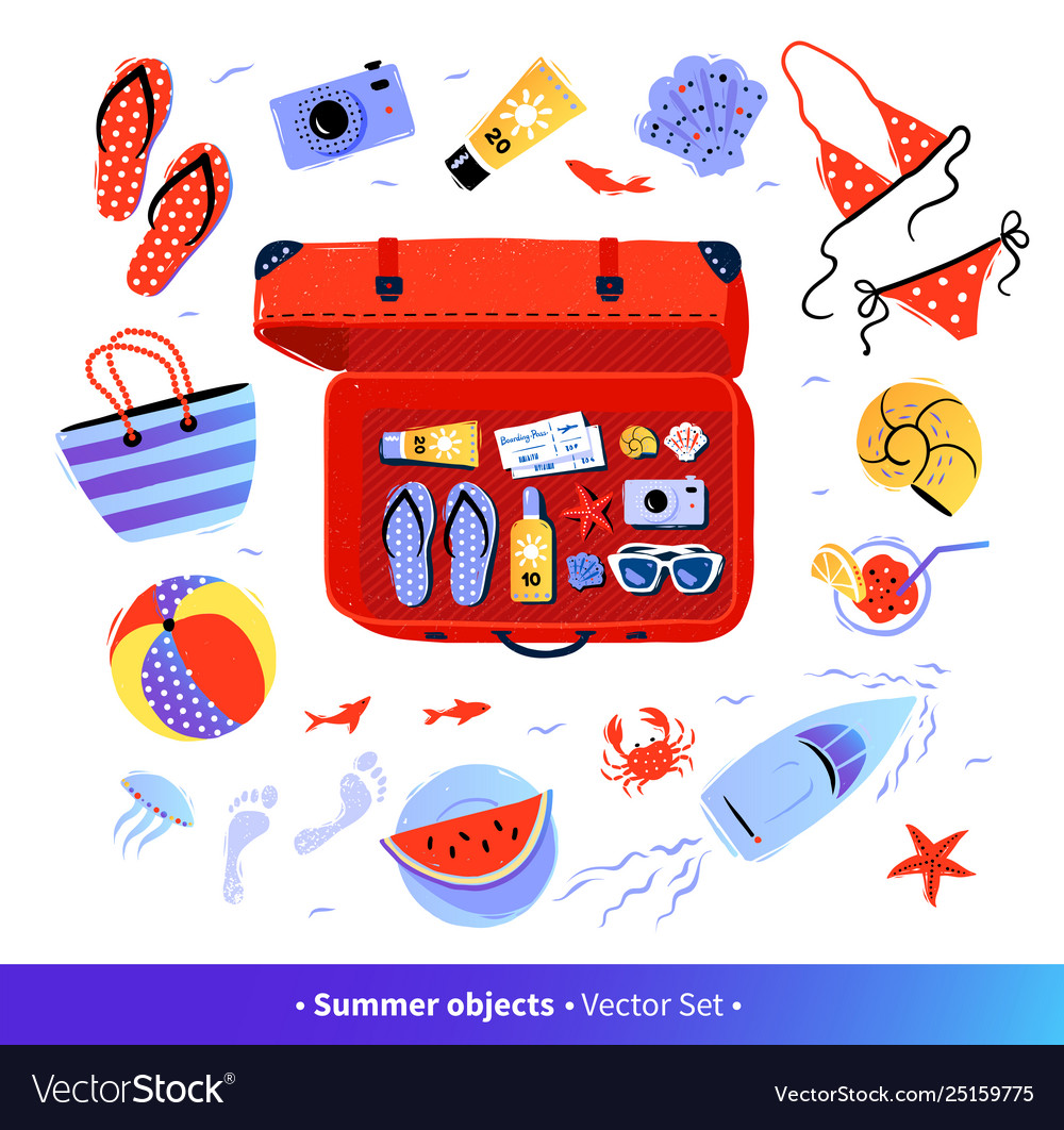 Summer seaside vacation top view set