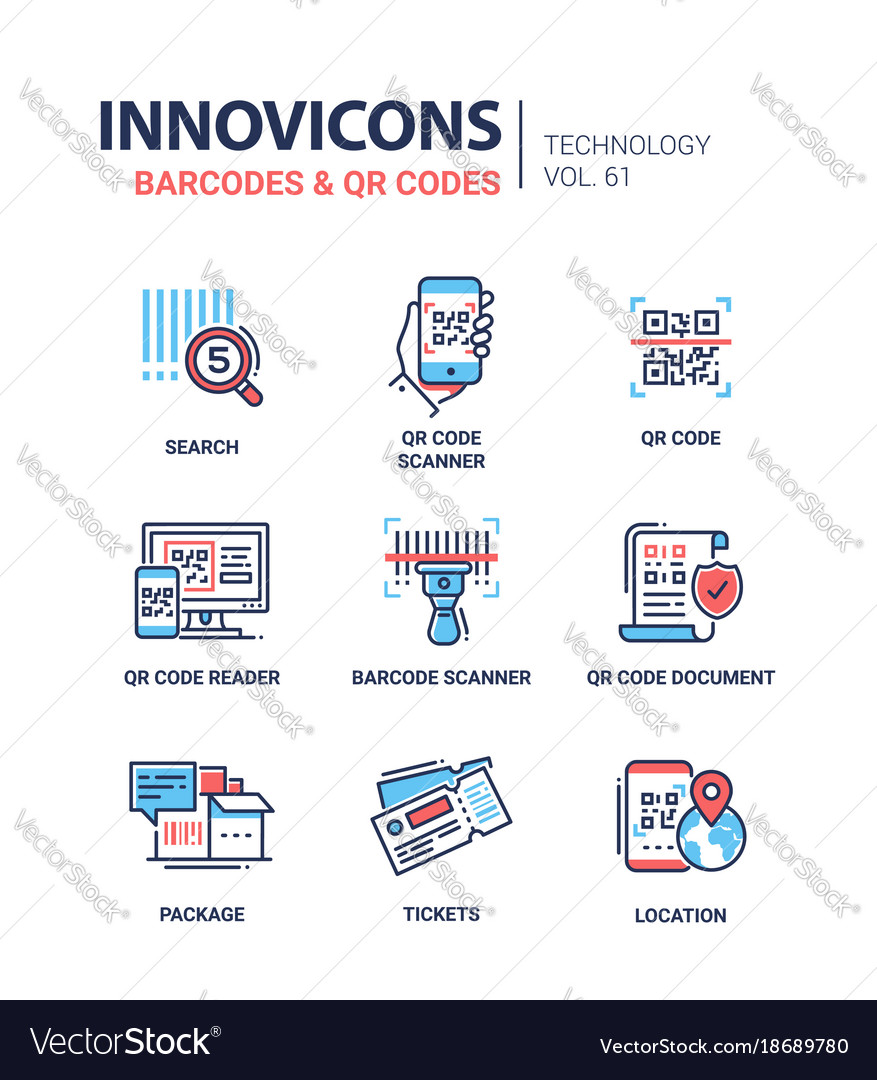 Barcodes and qr codes - line design icons set vector image