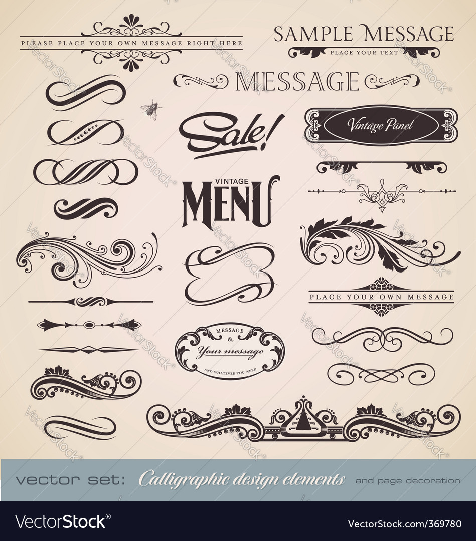 Calligraphy set vector