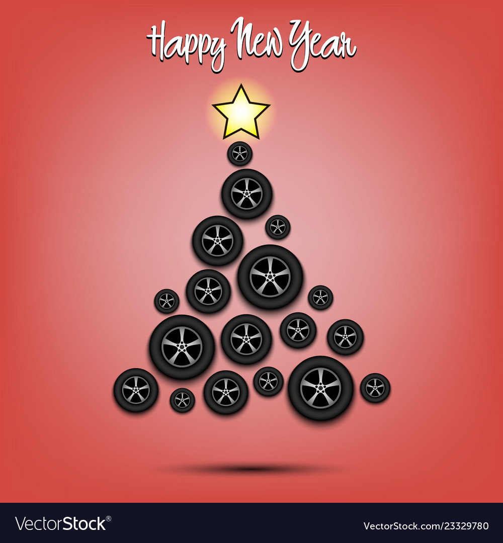 Christmas tree from wheels auto vector image
