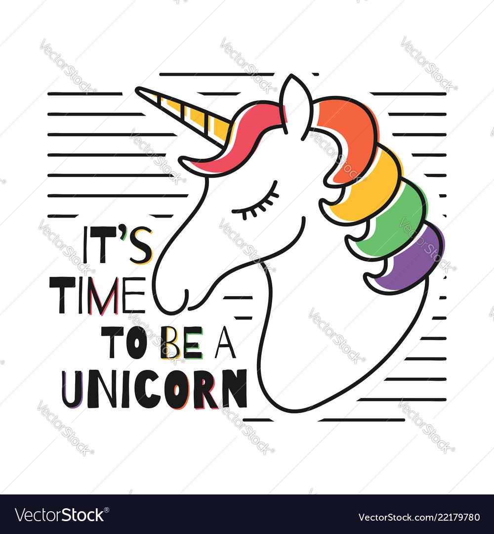 Cute magical unicorn for t-shirt print childish