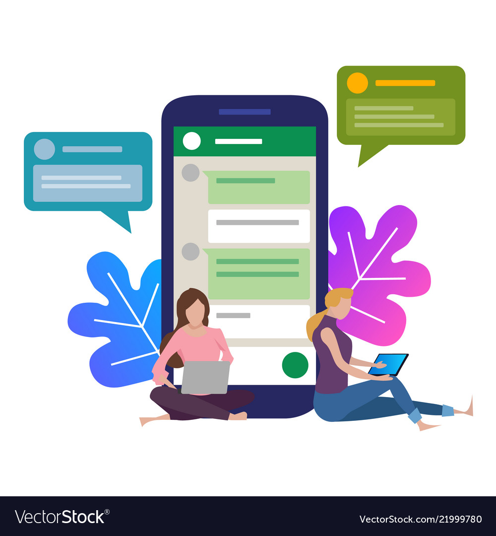 Girl next to a huge phone chat in social