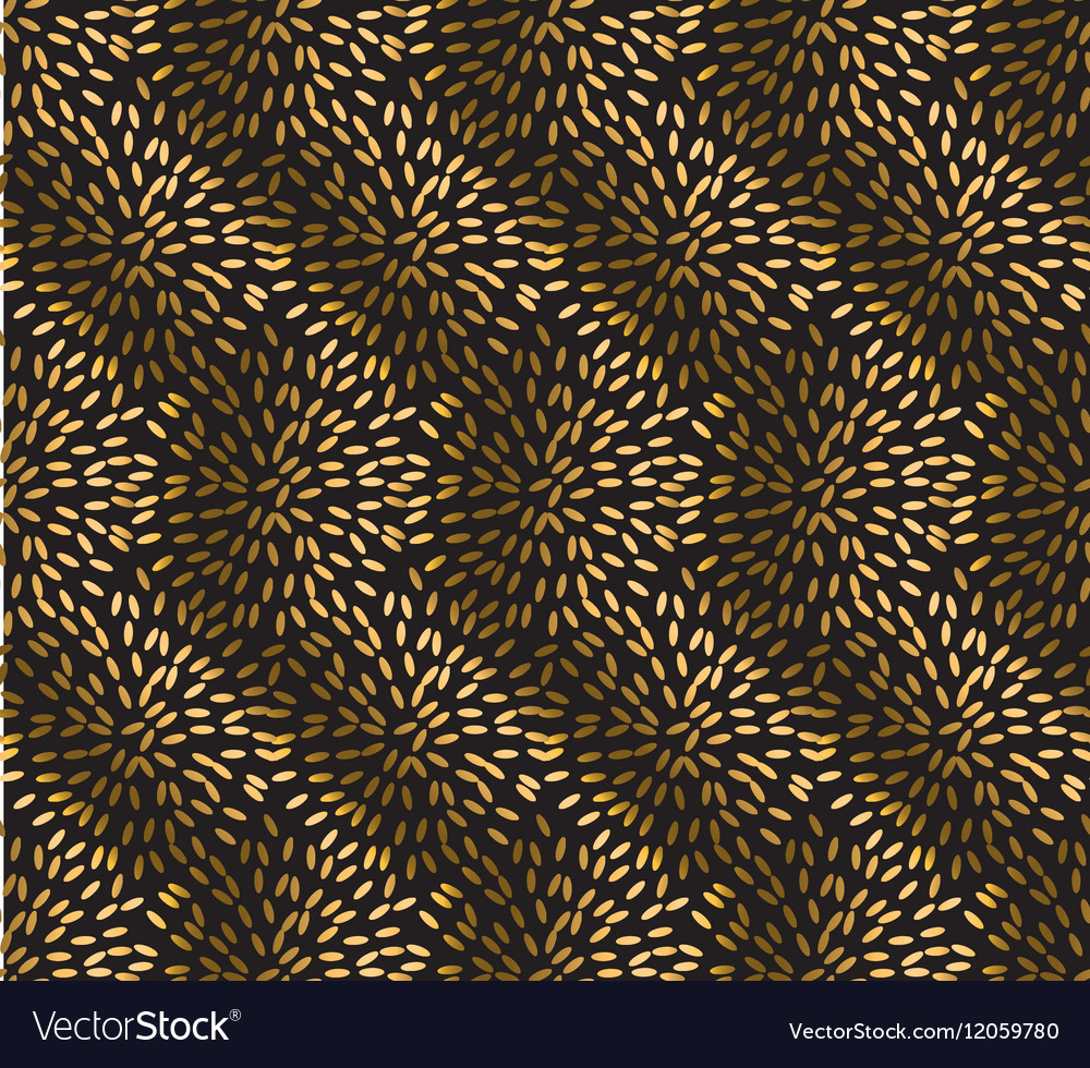 Gold rice seamless pattern festive metal textured vector image