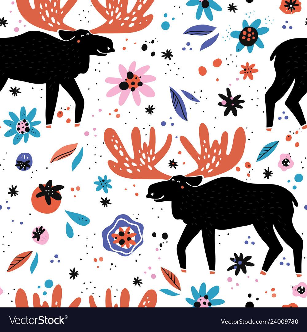 Moose flat hand drawn seamless pattern