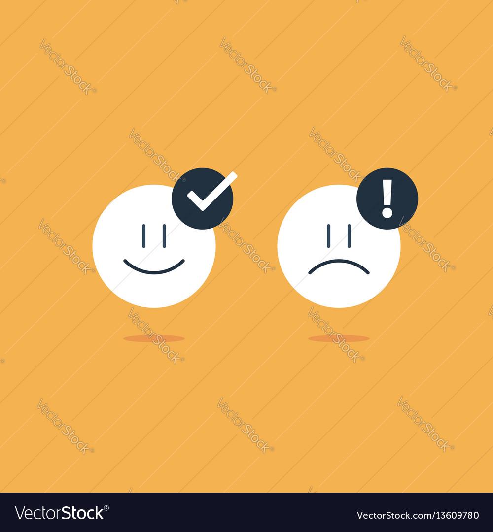 Opposite emotions smile emoji sad icon customer