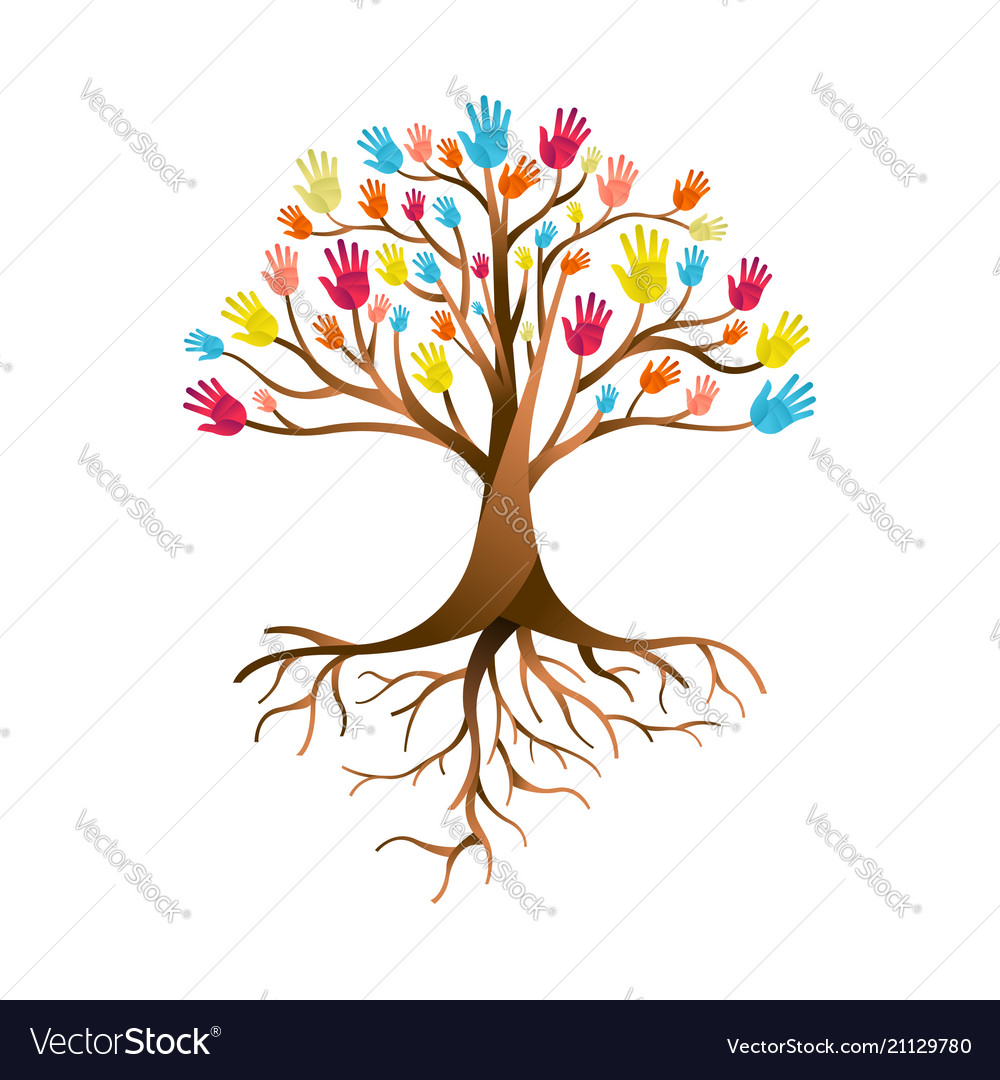 People Hand Tree For Diversity Teamwork Royalty Free Vector