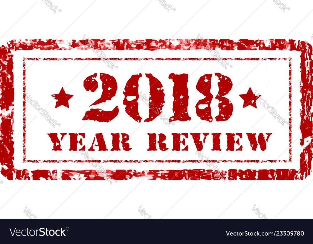 Review of the year 2018 stamp on a white