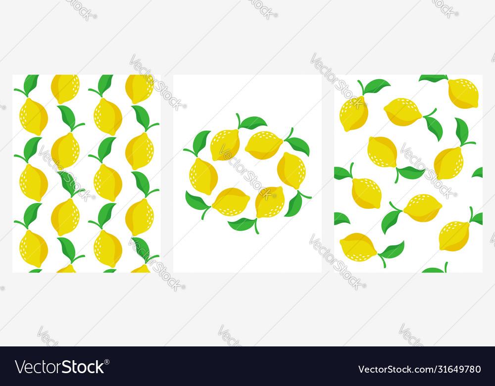 Seamless patterns with ripe lemons set