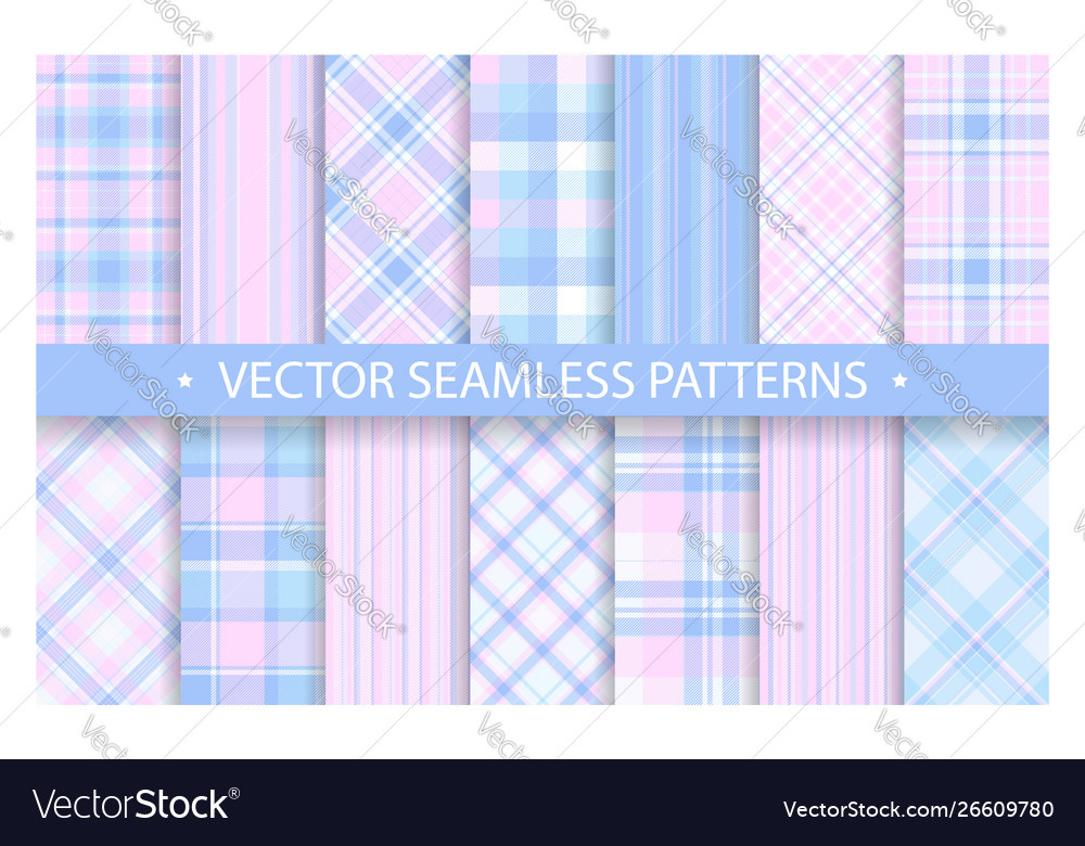 Set plaid pattern seamless tartan patterns fabric