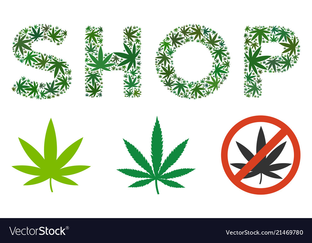 Shop Text Collage Of Weed Leaves Royalty Free Vector Image