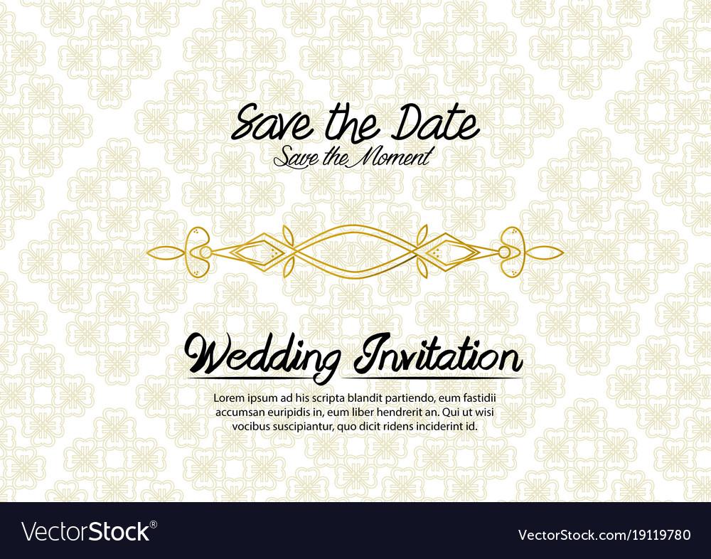 Simple vintage wedding invitation Royalty Free Vector Image