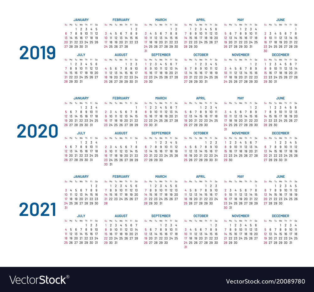 Yearly Calendar 2019 And 2021 Three years calendar 2019 2020 2021 isolated Vector Image