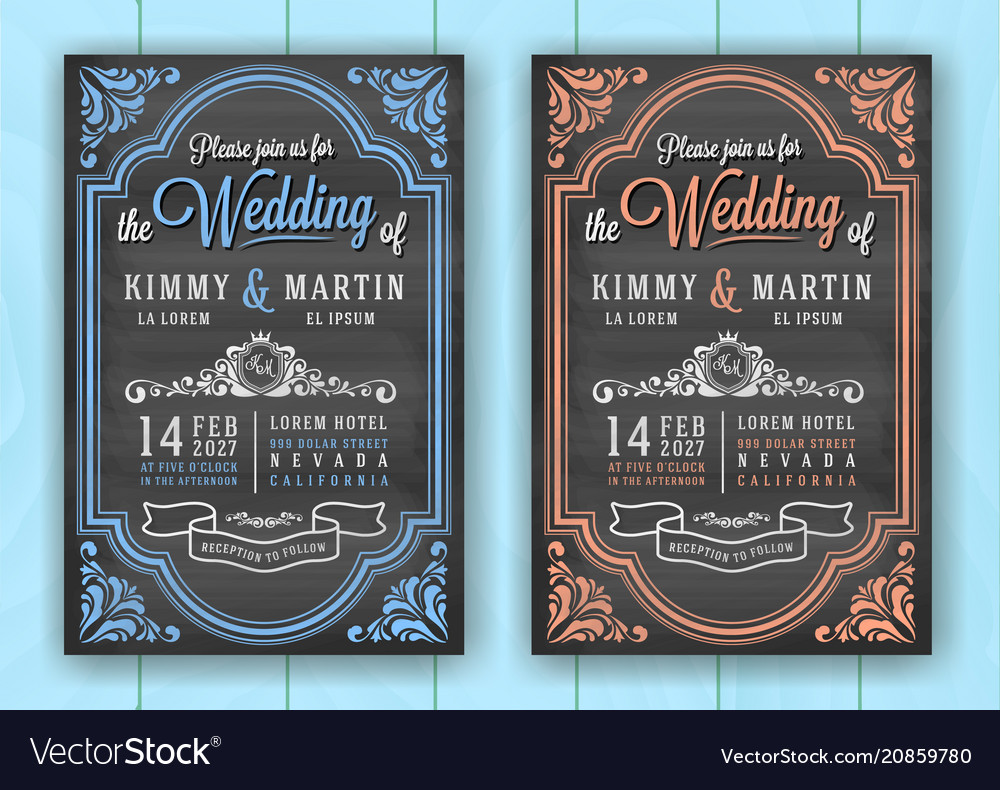 Vintage chalkboard wedding invitation card