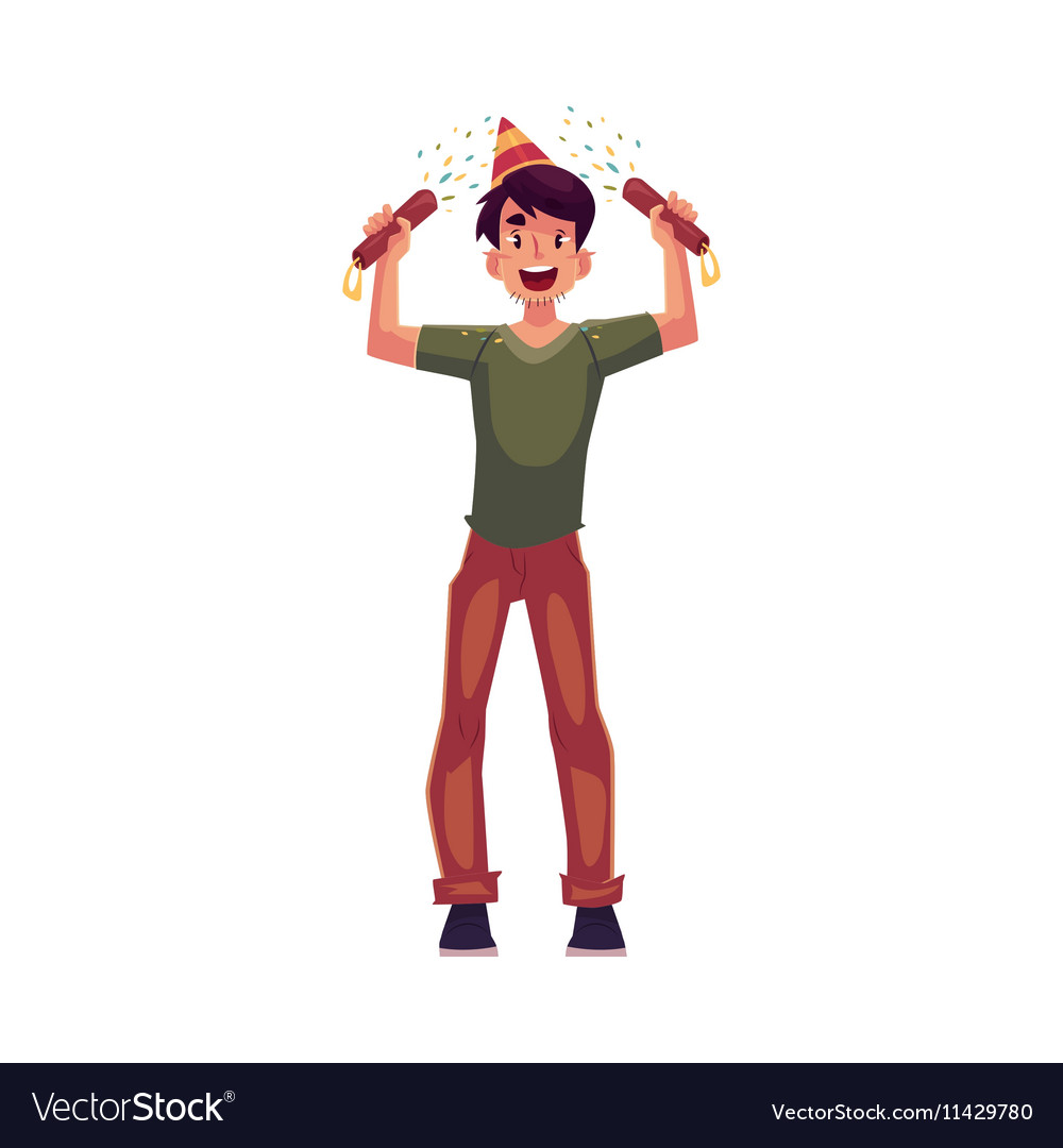 Young man in birthday hat with party poppers in vector image